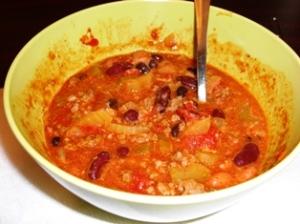 "Bowl of ""Hot"" Three Bean & Veggie Chili w/A Little Cheese!"
