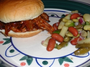 Pulled Pork Sandwich w/Bean Salad