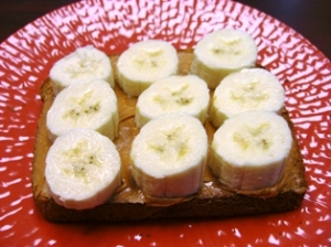 Whole-Wheat Toast w/Peanut Butter & Sliced Banana's (Carbs, Protein & Potassium)