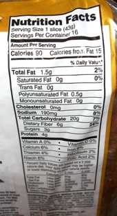 Nutrition Facts (Arnold's WholeGrains Bread)
