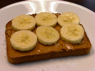 Whole-wheat toast with peanut butter & banana