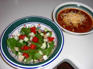 Wendy's Chili & Cheese w/a side Spinach Salad